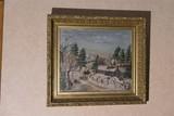Framed folk art painting winter scene