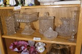 Shelf lot of clear glass, Fostoria, leaded crystal