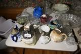 Table Lot Glass, pottery etc inc. roseville