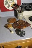 Kitchen items lot inc stoneware, utensils