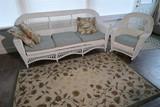 Antique Wicker bench, chair, carpet