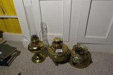 2 Antique Brass Lamps + Unusual Shade