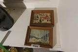 2 Vintage Grandma Moses art pieces