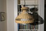 Hanging basket weave lamp