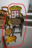 Armchair, stool, footstools lot