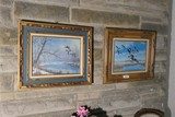 Two framed bird duck pictures