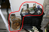 Items on top of and next to heater