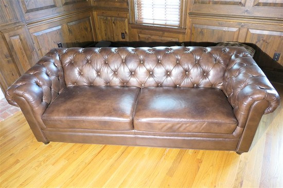 Large leather style Chesterfield couch or sofa