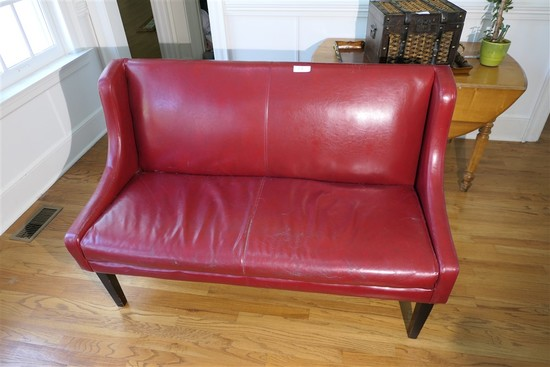 Vintage Leather Wing Back Chair or bench