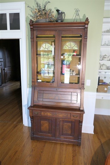 19th c. Eastlake Secretary Butler Desk w/Bookcase