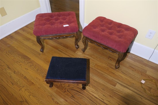 2 Dressing Stools & small footstool