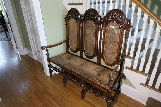 Nice William & Mary Style Large Antique Bench