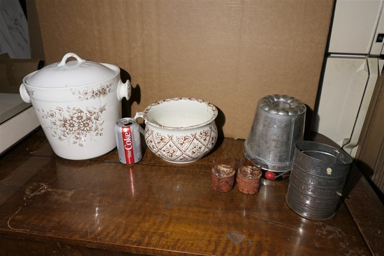Transferware, mold, flour sifter etc