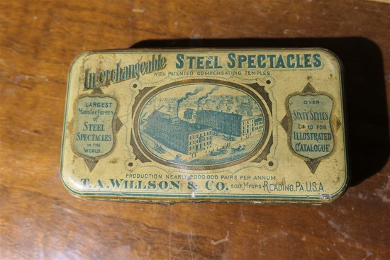 Antique Steel Spectacles Tin Advertising Box
