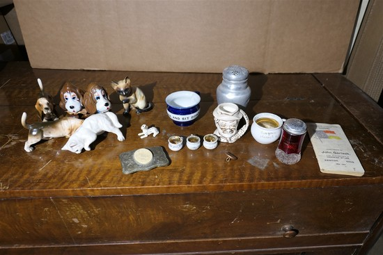 Group Lot assorted glass, ceramics, Belt Buckle etc