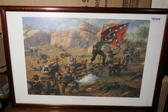 Signed Civil War Confederate Print in Frame.