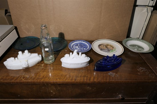 USS Maine Candy Dishes, bottle etc