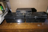 Three antique metal document boxes