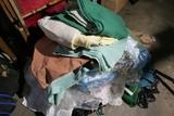Assorted antique linens, fabrics, clothing