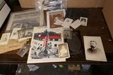 Large Lot assorted antique photos, paper etc