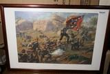 Signed Civil War Confederate Print in Frame.