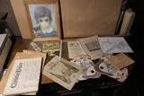 Large lot assorted antique paper etc