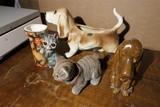Ceramic Dogs, cat bobble head etc