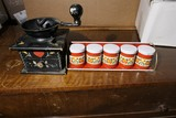 Antique coffee grinder, spice tins