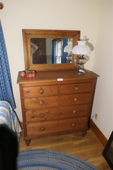 Antique 19th c. dresser in Pine PLUS mirror