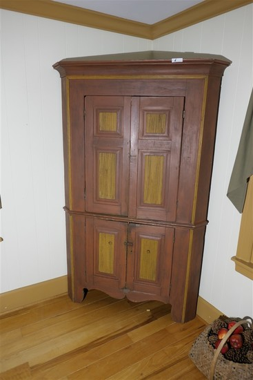 Fine Antique Corner Cabinet Cupboard w/Old Paint
