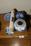 Group of Antique Chinese Ceramic Pieces + Scroll