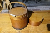 Antique Banded Firkin Bucket + Box