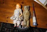 Teddy bear, doll, parade horn