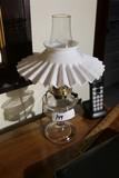 Antique Oil Lamp ruffled Shade