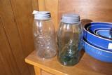 2 Antique Early Glass Mason Jars