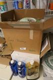 2 Antique Blue Oil Lamps + Parts in 2 Boxes