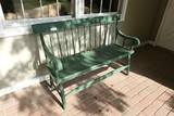 Antique Long Wooden Bench in Old Paint