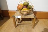 Antique Stool + Basket, Fruit