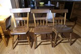 3 Antique Plank Bottom Chairs