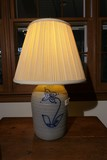 Stoneware Jar w/Cobalt Flower Lamp