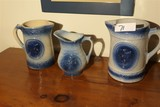 Group Lot of Blue and White Decorated Jugs