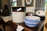 Stoneware Crock + Blue Bowl