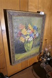 Antique Painting of Flowers - Signed