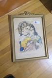 Antique Currier & Ives Print Rosebud & Eglantine