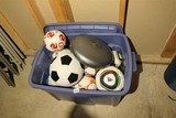 Tote lot mostly soccer balls etc