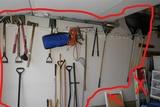 Wall Lot Assorted Hand Tools Ax Shovels etc