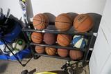 Rack and basketballs lot