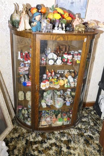 Oak curved glass curio cabinet - antique