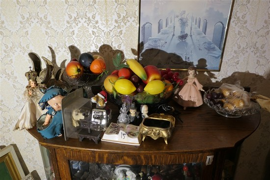 Items on top of cabinet lot inc. antique