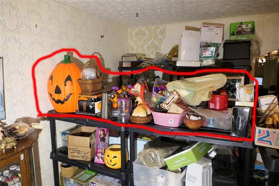 Items on top of 2 shelves inc. Halloween